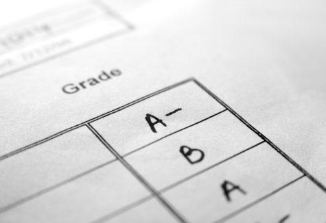A report card's grade column.