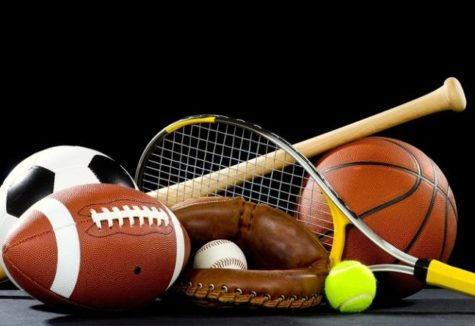 A collection of various sports equipment.