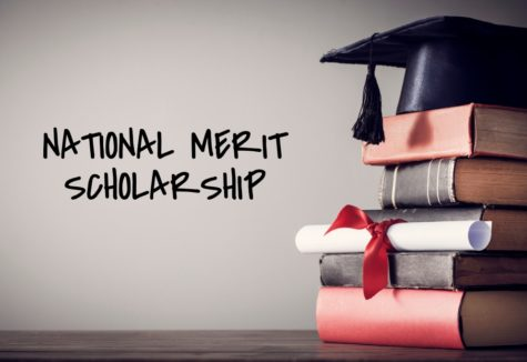 A stack of books with a graduation cap on top and the text 'National Merit Scholarship' in the negative space to the left.