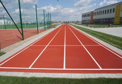 A sprinting track on a school's sports field.