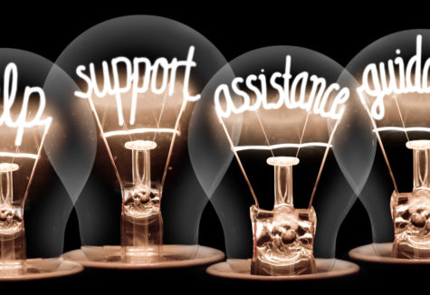 Lightbulbs whose internal filaments seem to write 'help', 'support', 'assistance', and 'guidance'.