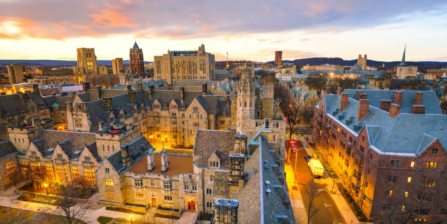 A sundown view of the buildings on the Yale University campus.